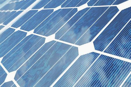 3D illustration solar panels with reflection the sunny sky. Background of photovoltaic modules for renewable energy. Stock Photo