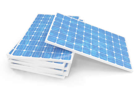 3D illustration solar power generation technology. Blue solar panels. Concept alternative electricity source. Eco energy, clean Energy isolated on white background. Stock Photo