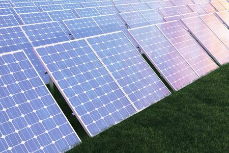 3D illustration solar power generation technology. Alternative energy. Solar battery panel modules with scenic sunset with blue sky with sun light. Stock fotó