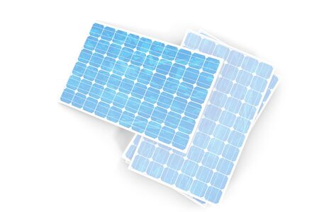 voltaic: 3D illustration solar power generation technology. Blue solar panels. Concept alternative electricity source. Eco energy, clean Energy isolated on white background. Stock Photo