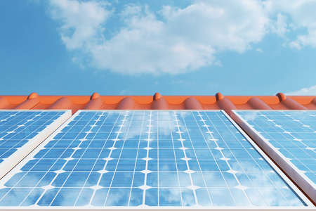 cloudless: 3D illustration solar panels on a red roof reflecting the cloudless blue sky. Energy and electricity. Alternative energy, eco or green generators. Power, ecology, technology, electricity.