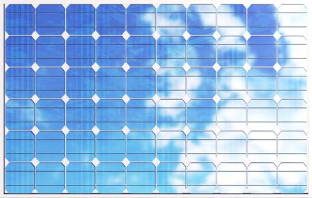 3D illustration solar panels on sky background. Alternative clean energy of the sun. Power, ecology, technology, electricity. Stock Photo