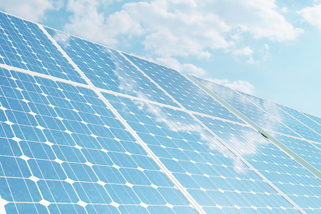 3D illustration solar panels on sky background. Alternative clean energy of the sun. Power, ecology, technology, electricity. Imagens