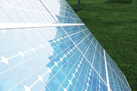3D illustration solar panels. Solar panel produces green, environmentally friendly energy from the sun. Concept energy of the future.