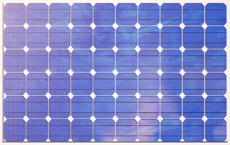 3D illustration solar panels on sky background. Alternative clean energy of the sun. Power, ecology, technology, electricity. Zdjęcie Seryjne