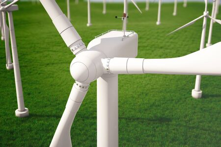 3d iluustration, turbine in the field, green, wind turbine, generate, eco power. environmentally friendly energy from the sun. Concept energy of the future.
