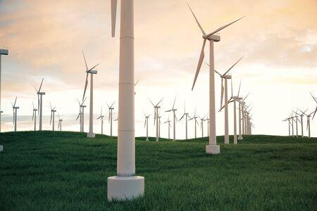 Illustrazione 3d, turbina di vento con il cielo di tramonto. Energia ed elettricità. Generatori di energia alternativa, eco o verde. Potenza, ecologia, tecnologia, elettricità. Archivio Fotografico - 78143882