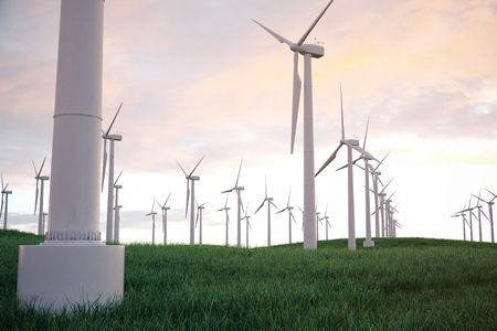 grass blades: 3d illustration, wind turbine with sunset sky. Energy and electricity. Alternative energy, eco or green generators. Power, ecology, technology, electricity. Stock Photo