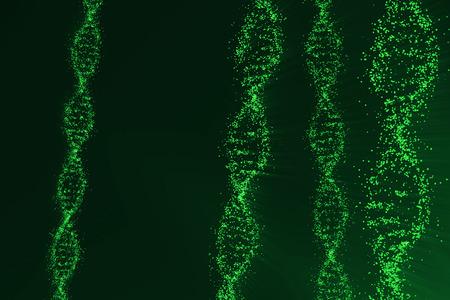 Rotating DNA, Genetic engineering scientific concept, blue tint. 3d rendering