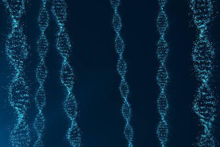 DNA、遺伝子工学の科学的な概念、青みを回転します。3 d レンダリング