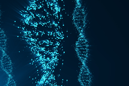 Rotating DNA, Genetic engineering scientific concept, blue tint. 3d rendering Stock Photo - 78707744