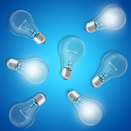 expertise: Group of lamp bulbs on blue background with glowing bulbs. Concept innovation ideas, 3d rendering Stock Photo