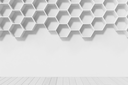 futuristic interior: Empty white wall with hexagon shelves on the wall, 3D rendering