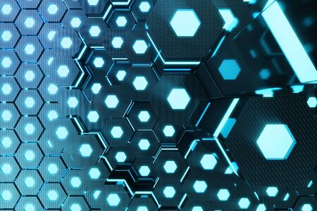 Blue abstract hexagonal glowing background, futuristic concept, 3D rendering Stock Photo