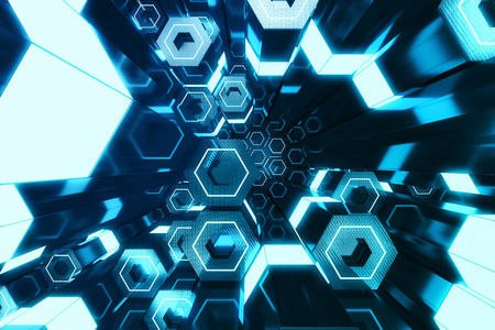 Abstract blue of futuristic surface hexagon pattern, hexagonal honeycomb with light rays, 3D Rendering