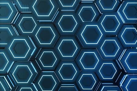 미래의 표면 육각형 패턴, 빛 광선, 육각형 벌집의 추상 파란색 3D 렌더링