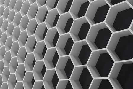voluminous: White geometric hexagonal abstract background with black wall, 3D rendering Stock Photo