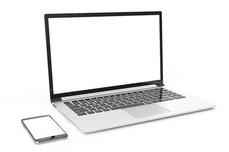 perfectly: Desktop computer blank mock up. Glossy laptop computer mock up. Modern computer mock up. Perfectly detailed smartphone mock up near computer blank, 3D Rendering