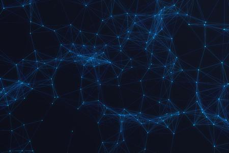 Connexion technologique forme futuriste, réseau bleu, fond abstrait, fond bleu, Concept de réseau, communication internet, rendu 3D Banque d'images