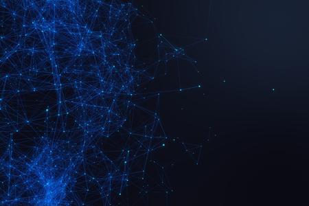 Conexão tecnológica, forma futurista, rede ponto azul, fundo abstrato, fundo azul, Conceito de rede, comunicação na internet, renderização 3D Foto de archivo