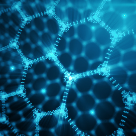 fiber optic cable: Abstract nanotechnology hexagonal geometric form close-up, concept graphene atomic structure, concept graphene molecular structure. Shining Hexagonal form consisting dots and lines, 3D rendering