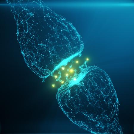 Blauwe gloeiende synaps. Kunstmatige neuron in het begrip kunstmatige intelligentie. Synaptische transmissielijnen van pulsen. Abstracte polygonale ruimte laag poly met verbindende punten en lijnen. 3D-weergave