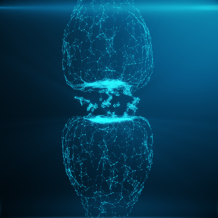 synaptic: Blue glowing synapse. Artificial neuron in concept of artificial intelligence. Synaptic transmission lines of pulses.Abstract polygonal space low poly with connecting dots and lines. 3D rendering