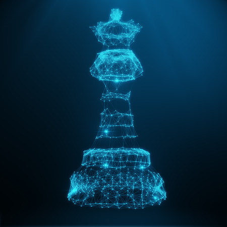 mesh: Abstract Low Poly Model, Chess Piece Queen consisting of blue dots and lines. Abstract illustration of business strategy, 3D rendering