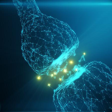Blauwe gloeiende synaps. Kunstmatige neuron in het begrip kunstmatige intelligentie. Synaptische transmissielijnen van pulsen. Abstracte polygonale ruimte laag poly met verbindende punten en lijnen, 3D-weergave Stockfoto