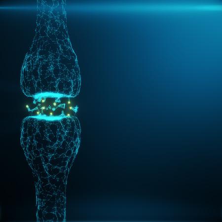 青光るシナプス。人工知能の概念に人工ニューロン。パルスのシナプス伝達ライン。抽象的な多角形空間接続点と線と 3 D と低ポリゴンのレンダリン