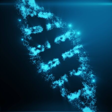 clone: Polygonal DNA Concept consisting of Blue Dots and Lines. Digital Illustration DNA Structure. DNA molecule structure, 3D rendering