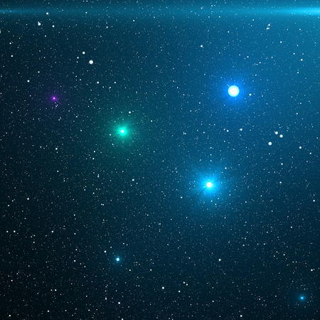 Universe filled with stars, nebula and galaxy. Close-up way galaxy with stars and space dust in the universe. Blue Space Background. Blue night sky with stars. 3D rendering
