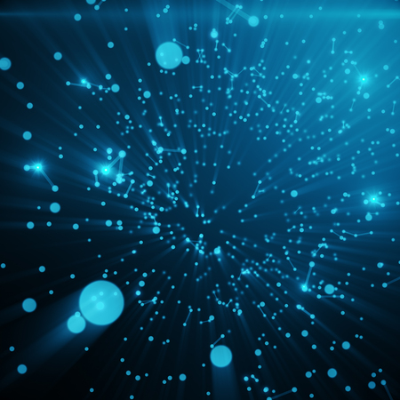 Abstract space blue tint background. Chaotically connected points and polygons flying in space. Flying debris. Futuristic technology style. Elegant background for business presentations, 3D rendering Stock Photo