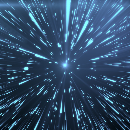 light traces: Abstract Background With Star Warp or Hyperspace. Abstract Exploding Effect. Hyperspace Travel. The Concept of Space Travel by Changing Time and Space. Blue tint background, 3D Rendering