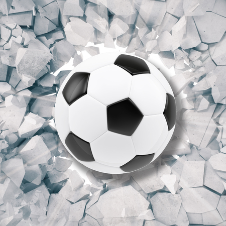 cranny: Sport illustration with soccer ball coming in cracked wall. Cracked concrete earth abstract background. 3d rendering