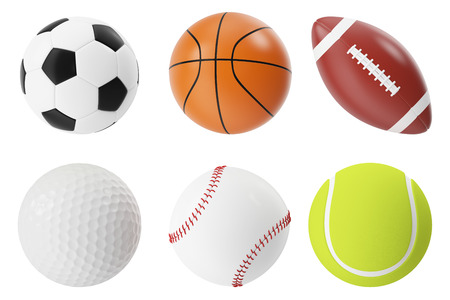 8 ball: Sports balls 3d illustration set. Basketball, soccer, tennis, football, baseball and golf Stock Photo