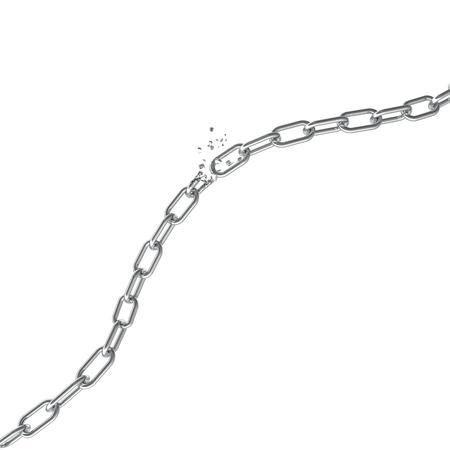 ブロークン スチールは、壊れた金属チェーンは、自由の概念をリンクします。混乱強い鋼、3 D イラストレーション