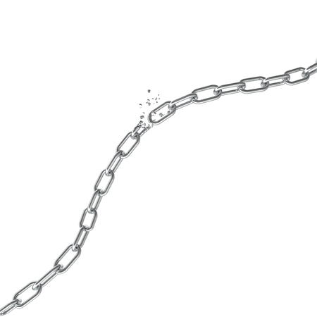 깨진 된 철강, 깨진 된 금속 체인 자유 개념을 연결합니다. 강한 철강, 3D 일러스트 중단