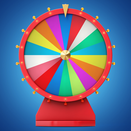 wheel of fortune: Realistic spinning fortune wheel, lucky roulette. Colorful wheel of luck or fortune. Wheel fortune isolated on blue tint background, 3d illustration