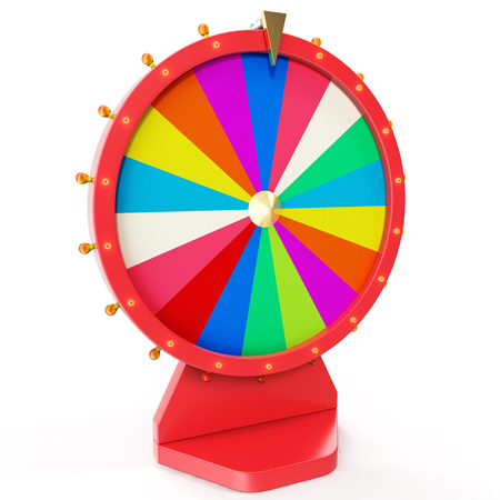 wheel of fortune: Realistic spinning fortune wheel, lucky roulette. Colorful wheel of luck or fortune. Wheel fortune isolated on white, 3d illustration