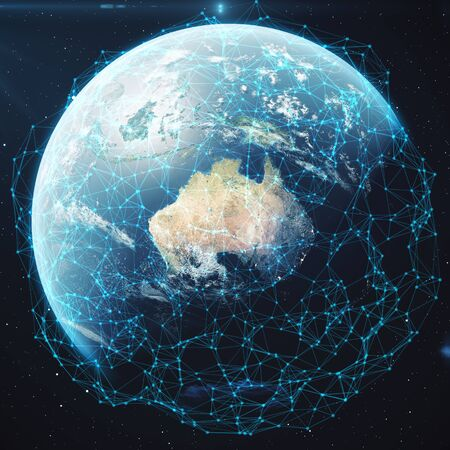 global investing: 3D rendering Network and data exchange over planet earth in space. Connection lines Around Earth Globe.