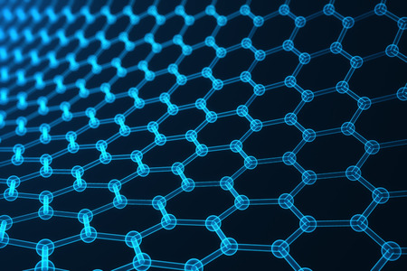 superconductivity: 3d rendering nanotechnology, glowing hexagonal geometric form close-up, concept graphene atomic structure, concept graphene molecular structure