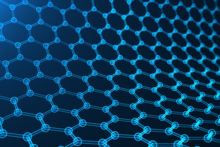 3d rendering nanotechnology, glowing hexagonal geometric form close-up, concept graphene atomic structure, concept graphene molecular structure