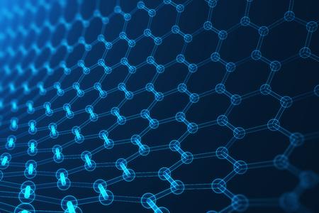 3d 렌더링 나노 기술, 빛나는 육각형 기하학적 형태 확대, 개념 graphene 원자 구조, 개념 graphene 분자 구조