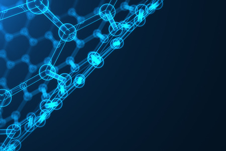 nanotube: 3d rendering nanotechnology, glowing hexagonal geometric form close-up, concept graphene atomic structure, concept graphene molecular structure