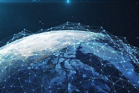 3D 렌더링 행성 지구 공간에서 네트워크 및 데이터 교환. 지구 글로브 주위 연결 라인입니다.