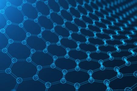 3d 렌더링 추상 나노 기술, 빛나는 육각형 기하학적 형태 확대, 개념 graphene 원자 구조, 개념 graphene 분자 구조입니다.