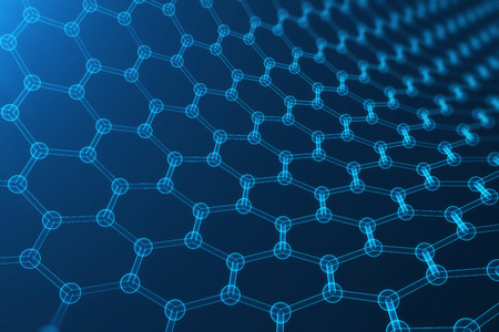 3d rendering abstract nanotechnology, glowing hexagonal geometric form close-up, concept graphene atomic structure, concept graphene molecular structure. Stockfoto