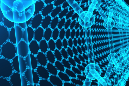superconductivity: 3d rendering abstract nanotechnology hexagonal geometric form close-up, concept graphene atomic structure, concept graphene molecular structure.
