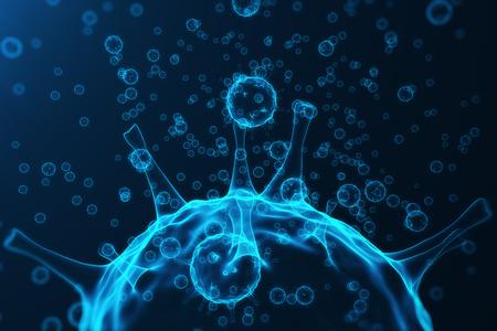 Virus y gérmenes, bacterias, organismos infectados con células. Virus de la gripe H1N1, gripe porcina en el fondo abstracto. Los virus azules brillando en el color atractivo, la representación 3D